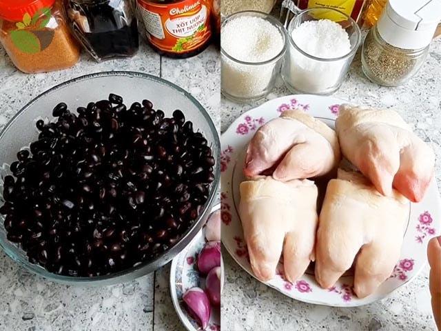 Nguyên liệu nấu giò heo hầm đậu đen